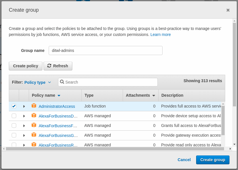AWS Create Group