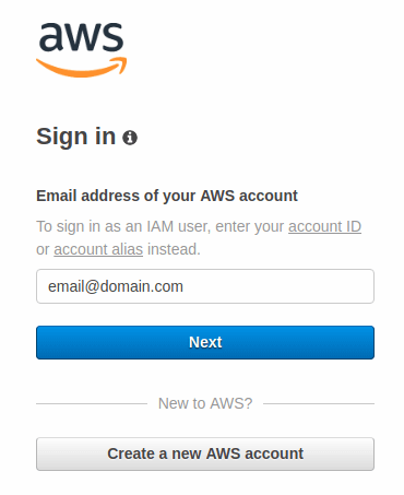 Sign in AWS interface