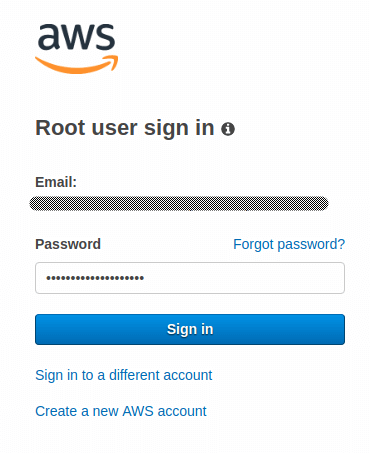 AWS Root user sign in interface