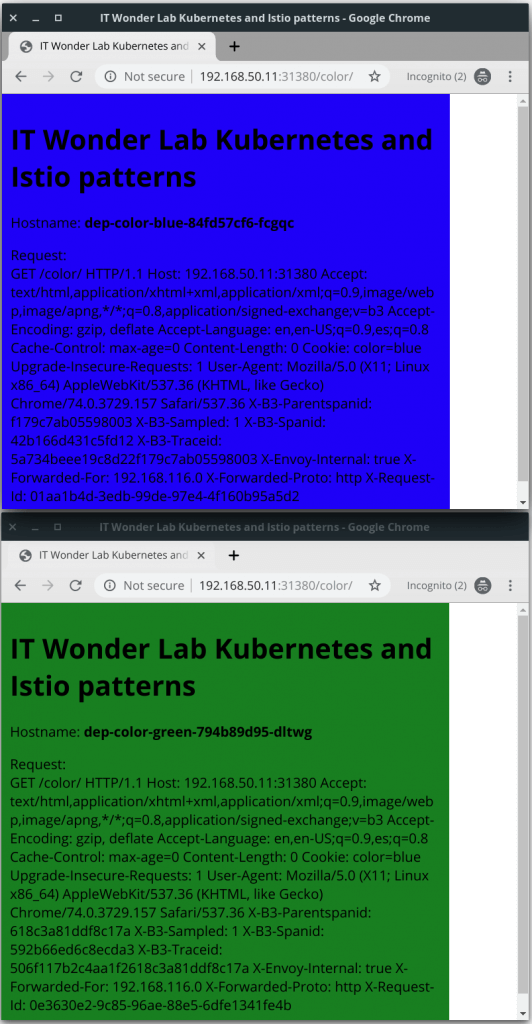 Two browser windows, one with blue background, the other with green backgriound